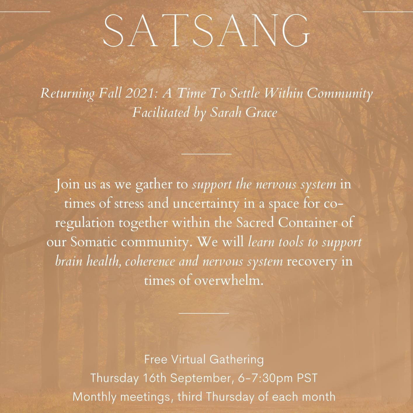 Somatic Satsang Sept 2021